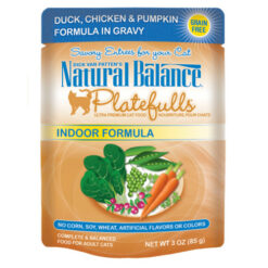 Natural Balance Platefulls® Indoor Duck, Chicken & Pumpkin Formula in Gravy Cat Pouch