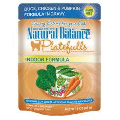 Natural Balance Platefulls® Indoor Duck, Chicken & Pumpkin Formula in Gravy Cat Pouch