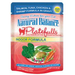 Platefulls® Indoor Salmon, Tuna, Chicken & Shrimp Formula in Gravy Cat Pouch