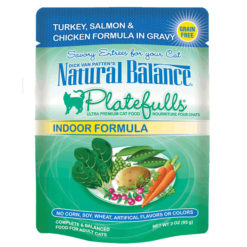 Natural Balance Platefulls® Indoor Turkey, Salmon & Chicken Formula in Gravy Cat Pouch
