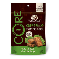 Wellness CORE Grain-Free Protein Bars Turkey & Duck with Kale Recipe Dog Treats