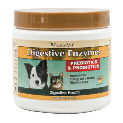 NaturVet Digestive Enzymes with Prebiotics & Probiotics Dog & Cat Powder Supplement