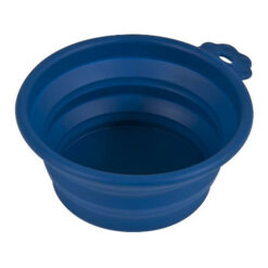 Petmate Navy Blue Silicone Round Collapsible Travel Pet Bowl