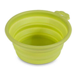 Petmate Go Go Green Silicone Round Collapsible Travel Pet Bowl