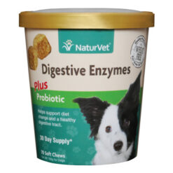 NaturVet Digestive Enzymes Plus Probiotics Soft Chews for Dogs