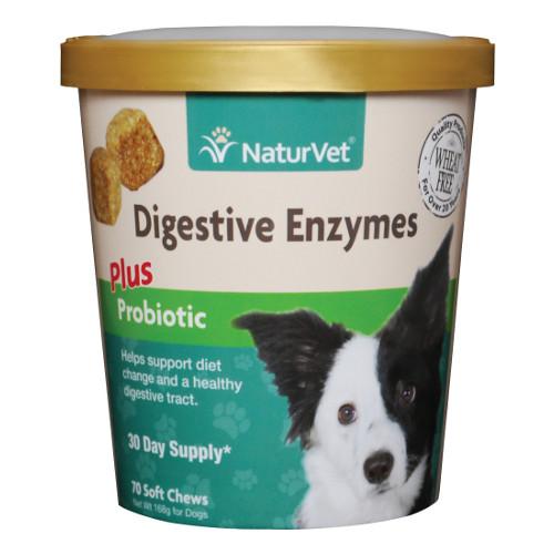 NaturVet Digestive Enzymes Plus Probiotics Soft Chews for Dogs