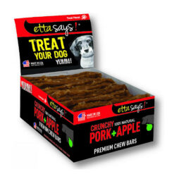 Etta Says! Crunchy Pork + Apple Chew Bars Dog Treats