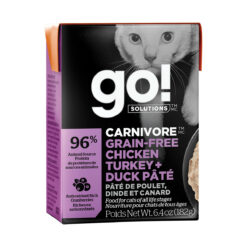 Go! Solutions Carnivore Grain Free Tetra Packs for Cats - Chicken, Turkey + Duck Pâté