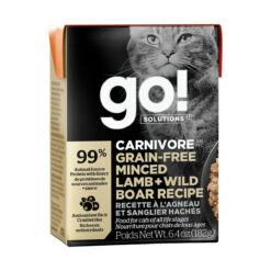 Go! Solutions Carnivore Grain Free Tetra Packs for Cats - Minced Lamb + Wild Boar Recipe