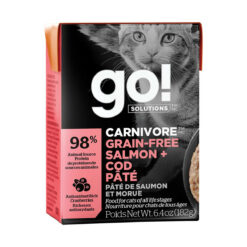 Go! Solutions Carnivore Grain Free Tetra Packs for Cats - Salmon + Cod Pâté