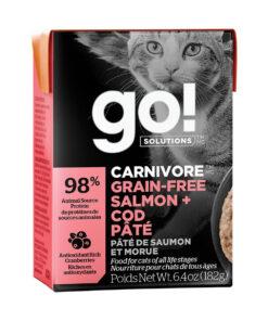 Go! Solutions Carnivore Grain Free Tetra Packs for Cats - Salmon + Cod Pâté