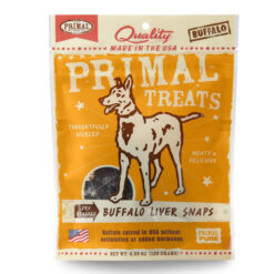 Primal Buffalo Liver Snaps Dry Roasted Dog Treats